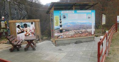Panoul dedicat lui Constantin Brâncuși la intrarea în Petroșani